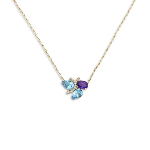 18k Gold Diamonds Necklace Blue Topaz and Amethyst