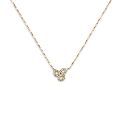 18k Gold Triple Diamonds Necklace
