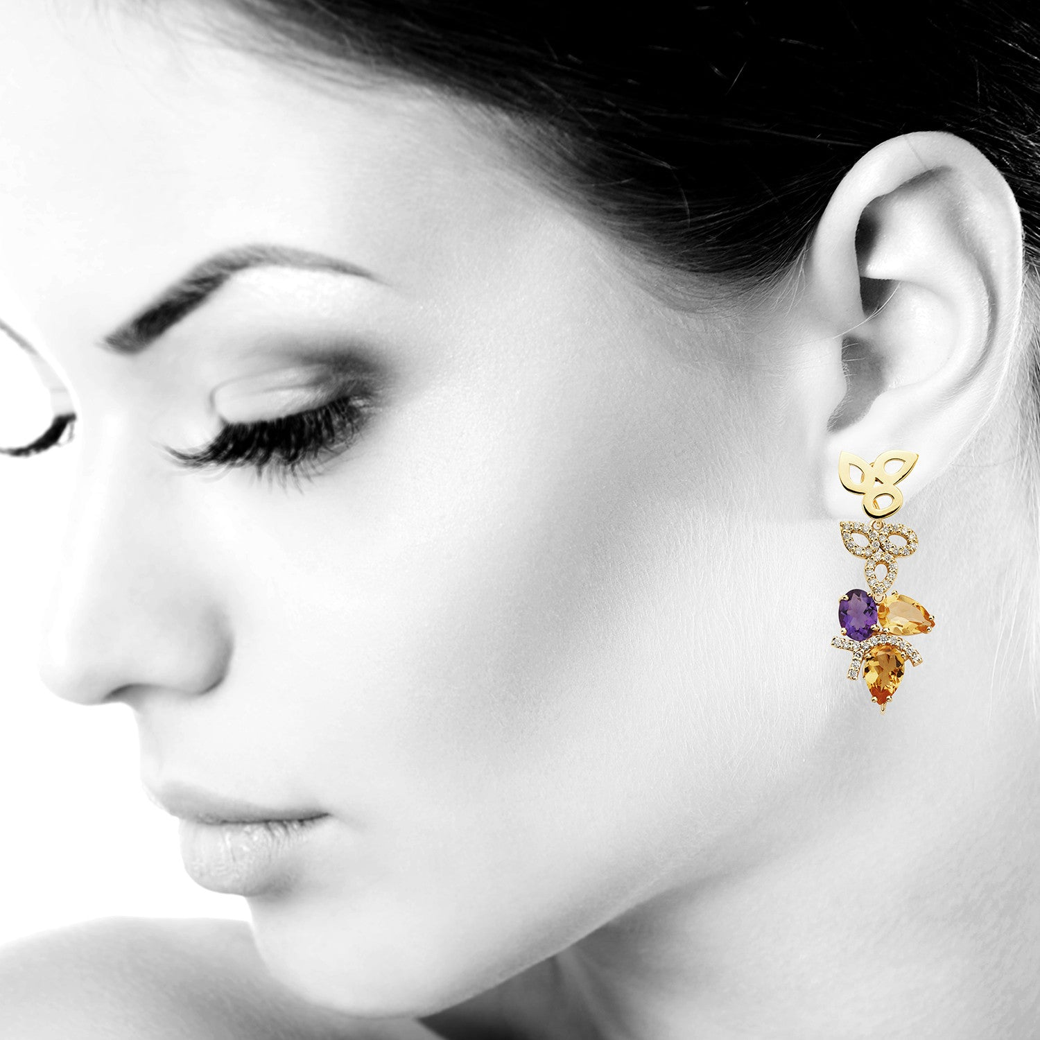 cartilage ear an serendipity earrings triple stud flower products earring piercing helix in curved