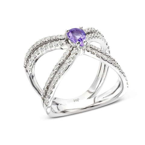 18k Gold Double X Diamonds Ring Purple Sapphire