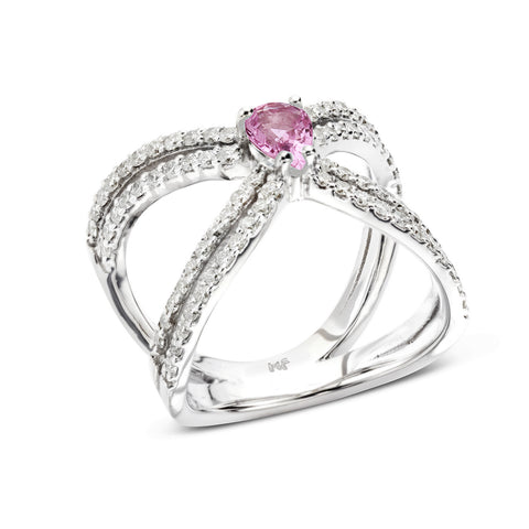 18k Gold Double X Diamonds Ring Pink Sapphire