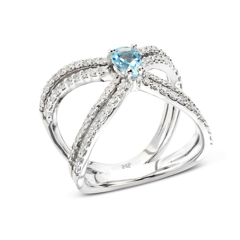 18k Gold Double X Diamonds Ring Blue Topaz