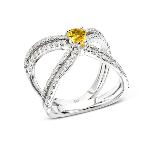 18k Gold Double X Diamonds Ring Yellow Sapphire