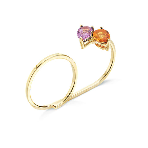 18k Gold Two Finger Drops Ring Yellow and Pink Sapphire