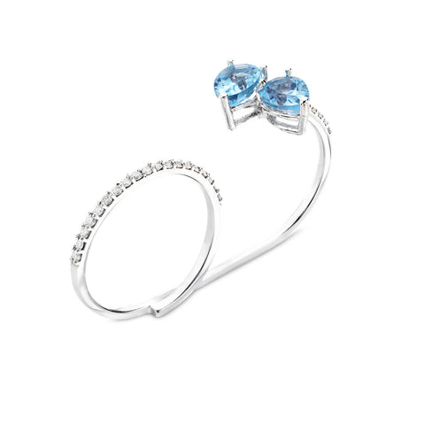 18k Gold Two Finger Drops Diamonds Ring Blue Topaz