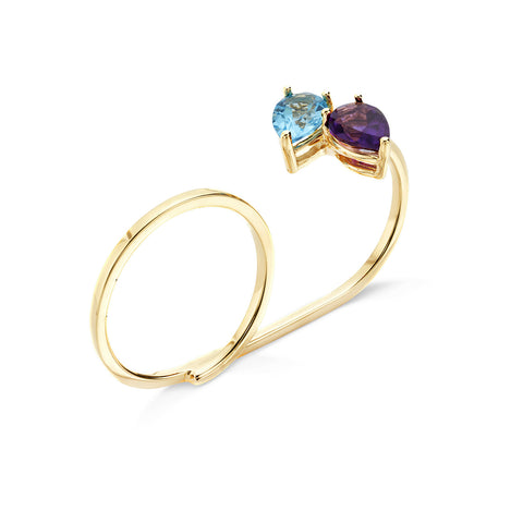 18k Gold Two Finger Drops Ring Amethyst and Blue Topaz