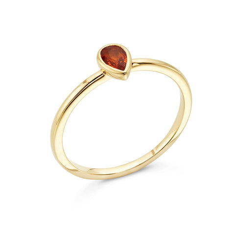 18k Gold Solitaire Ring Orange Sapphire