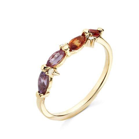 18k Gold Marquise Multi Color Sapphire