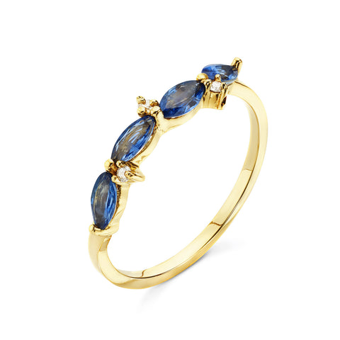 18k Gold Marquise Ring Blue Sapphire