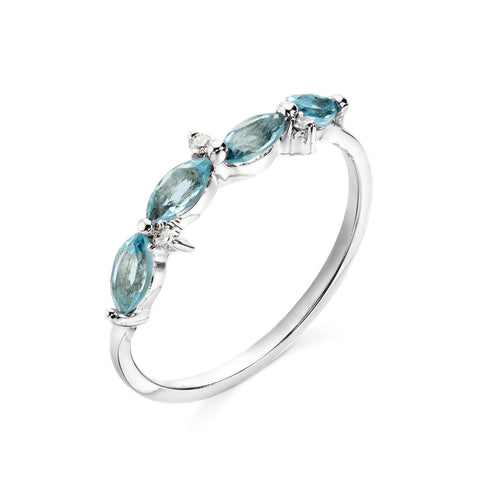 18k Gold Marquise Ring Blue Topaz