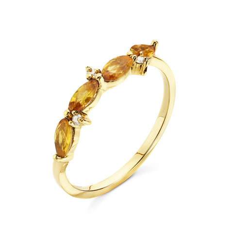 18k Gold Marquise Ring Yellow Sapphire