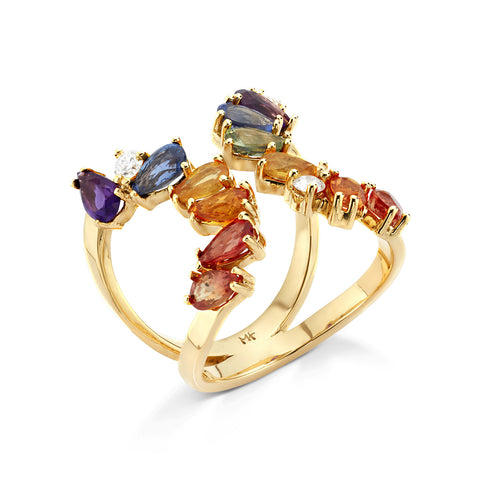18k Gold Cocktail Ring Multi Color Sapphire