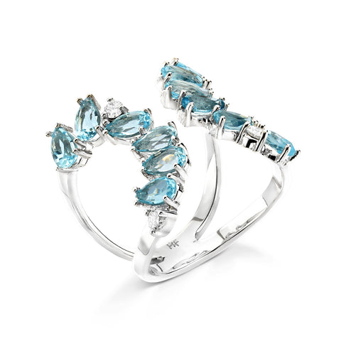 18k Gold Cocktail Ring Blue Topaz
