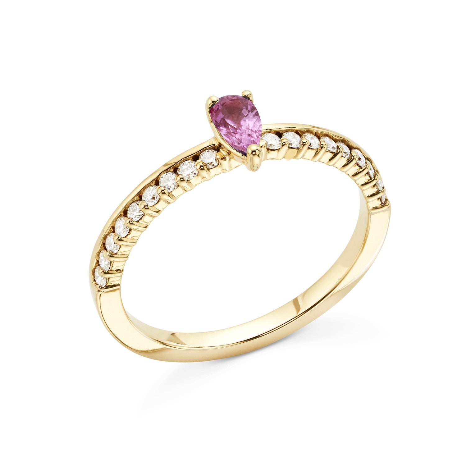 mirella ring diamonds faldini rosa pink sapphire rings center gold stone quadrado products