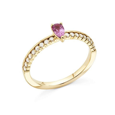 18k Gold Center Stone Diamonds Ring Pink Sapphire