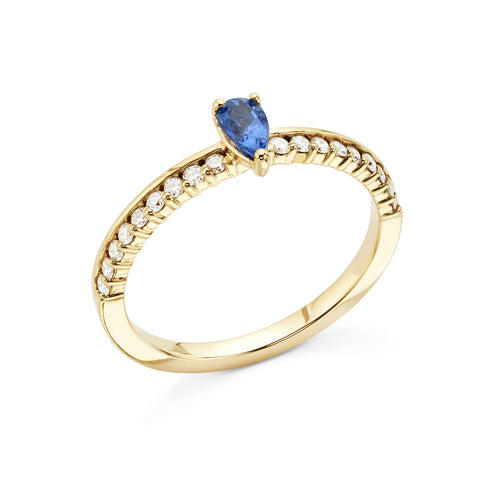 18k Gold Center Stone Diamonds Ring Blue Sapphire