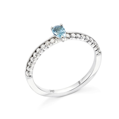 18k Gold Center Stone Diamonds Ring Blue Topaz