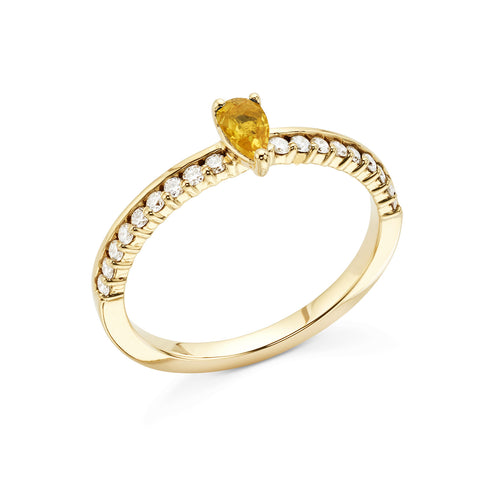 18k Gold Center Stone Diamonds Ring Yellow Sapphire