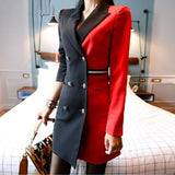Black Red Patchwork Notched Collar Sheath Office Dress