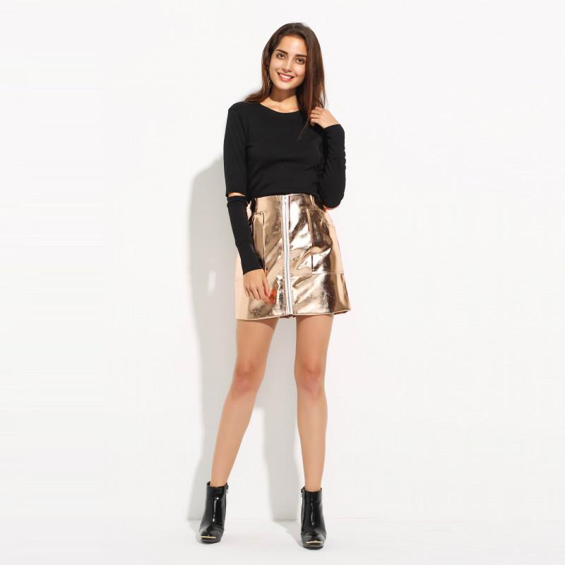 Solid Rose Gold Punk Style High Waist Pocket Skirt