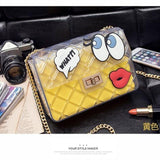 Graffiti Red Lips Handbag Yellow