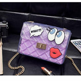 Graffiti Red Lips Handbag Purple