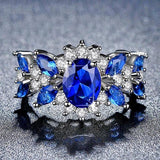 Trendy White Cubic Zirconia Ring Blue