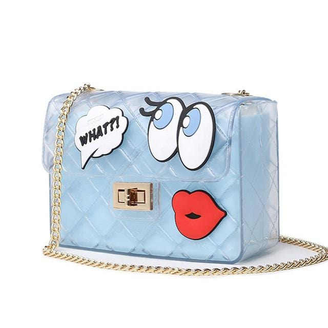 Graffiti Red Lips Handbag Light Blue