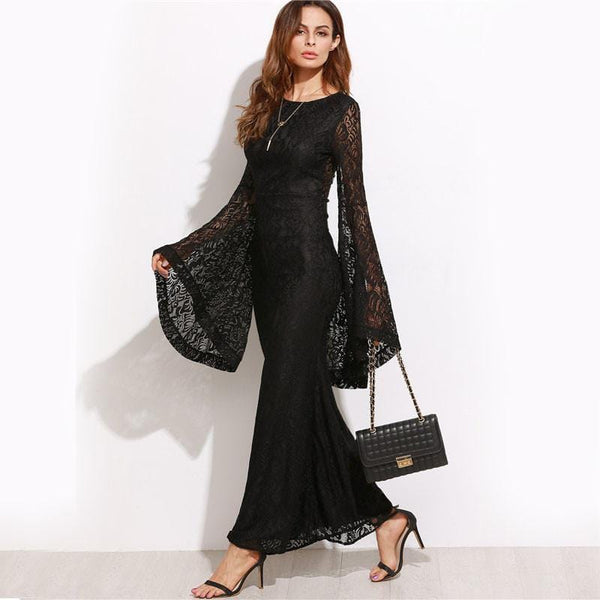 09b208be65a Floral Black Lace Oversized Bell Sleeve