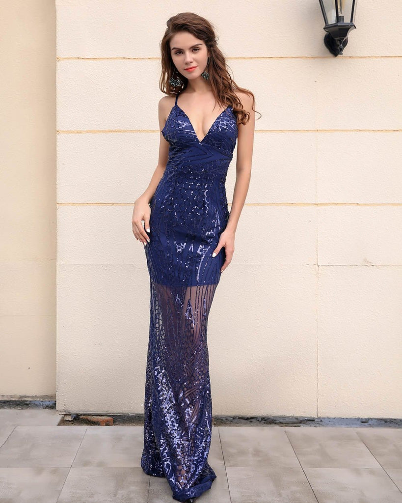 Sequin Long Party Dress Purple