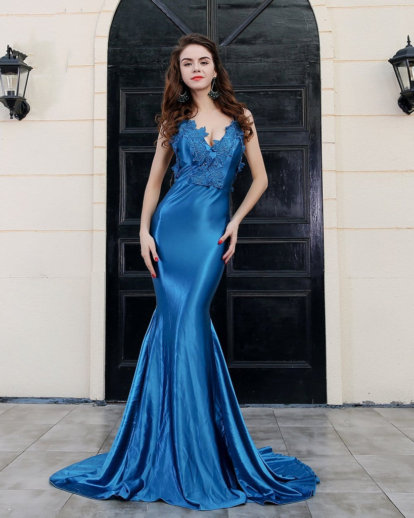 Backless Blue Party Long Dress