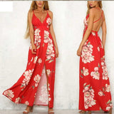 Floral Summer Boho Backless Long Dress