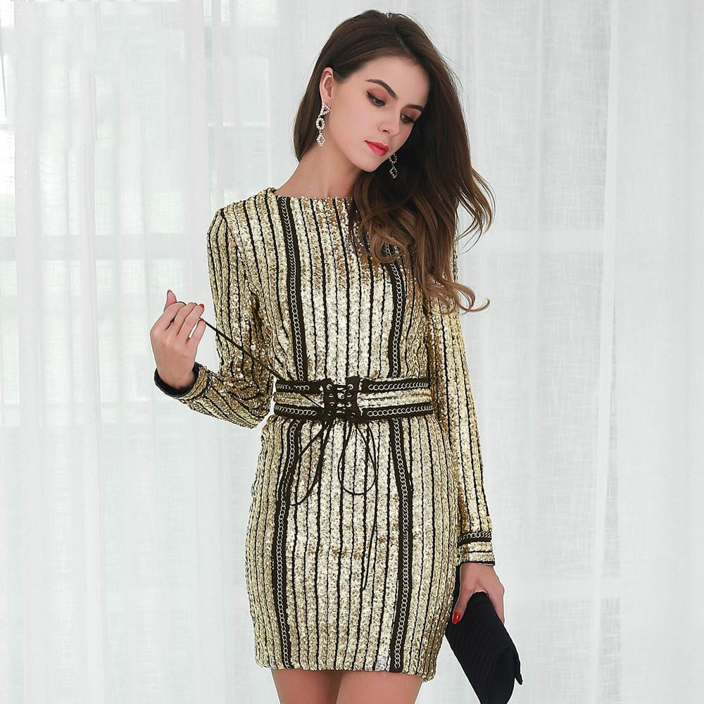 Sequin Belt Rope Dress Gold