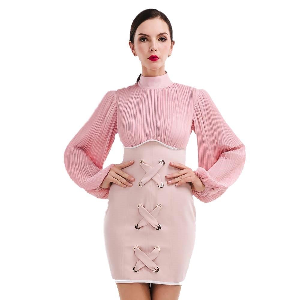 Unique High Neck Dress Pink