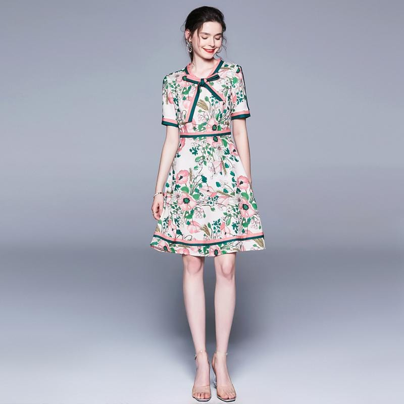 Long Sleeve Unique Belted Collar Floral Print Vintage Dress White