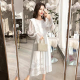 Elastic Waist Flare Sleeve White Dress