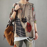 Fashion Printing Loose Sweaters Pullovers  Khaki