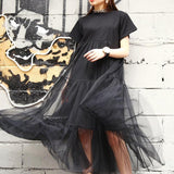 Black Stitching Net Yarn Short Sleeve  Loose Dress