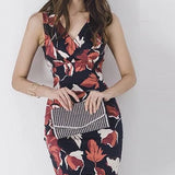 Floral Printed V-Neck Skinny Sleeveless Korean Dress Black Red Floral