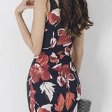 Floral Printed V-Neck Skinny Sleeveless Korean Dress