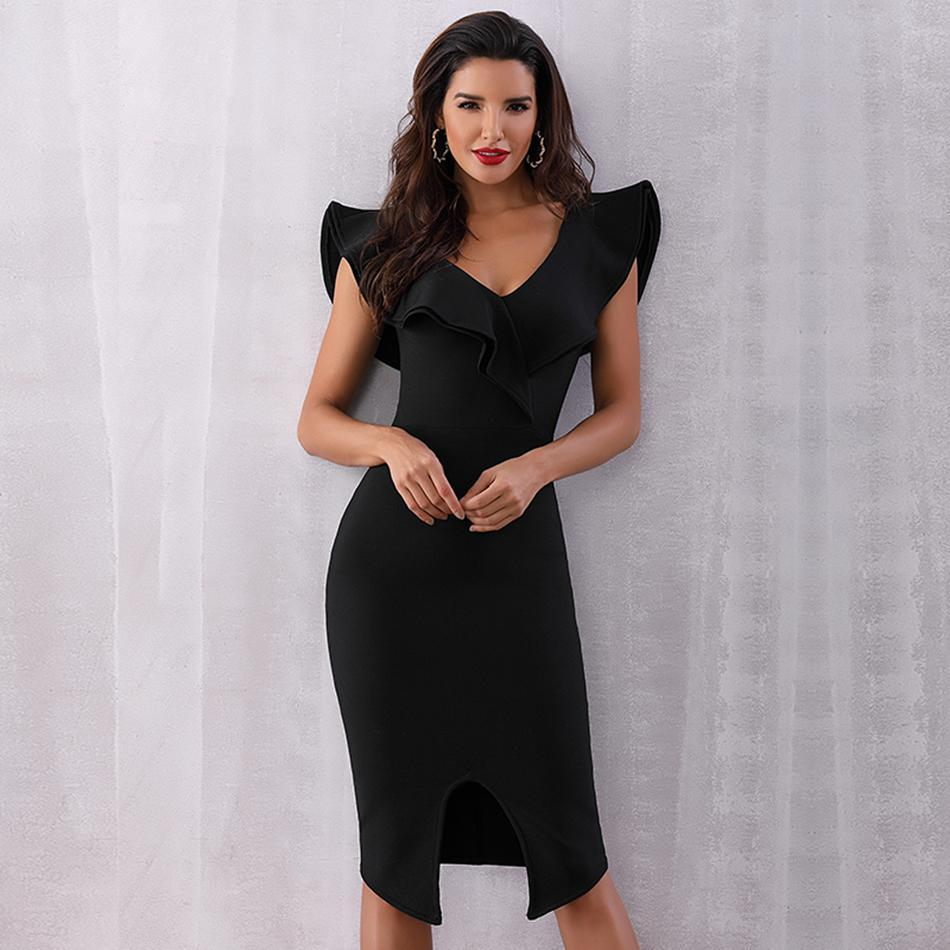 Ruffles Off The Shoulder Bodycon Party Dress Black