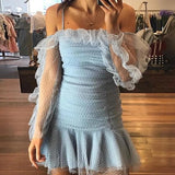 Vintage Ruffles Casual Dress Sky Blue