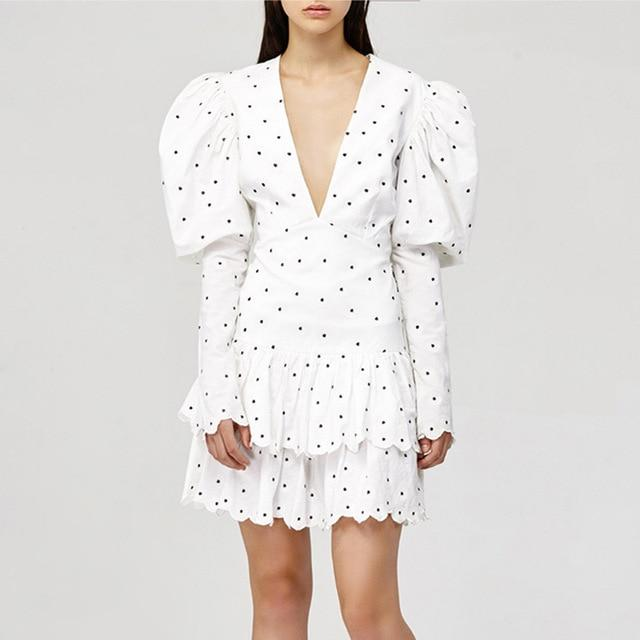 Ruffles Polka Dot V-Neck Puff Sleeve Mini Dress