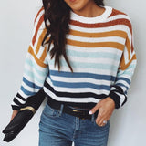 Multicolor Stripe Loose Long Sleeves Casual Sweater Blue