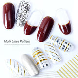 3D Gold Silver Sliders Nail Art Stickers