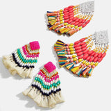 Bohomian Ethnic Beaded Dangle Tassel Earrings