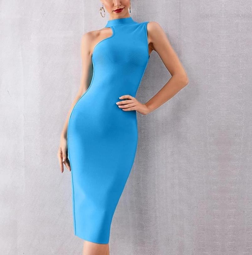 Elegant Hot Blue Sleeveless Tank Bodycon Party Dress Blue