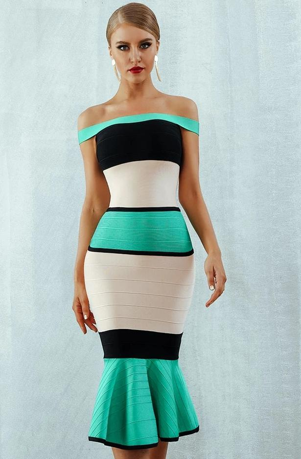 Off Shoulder Unique Bodycon Dress