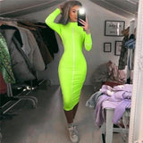 Casual Striped Turtleneck  Long Bodycon Dress Neon Yellow