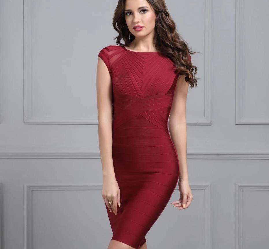 Sexy Short Sleeve O Neck Mesh Bandage Dress Wine Red